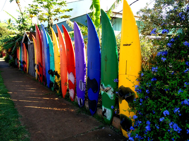 Board fence at the Aloha Surf Hostel, Maui.