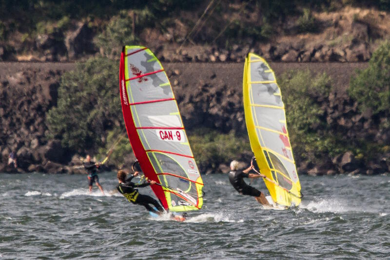 Bruce Peterson and Phil Soltysiak slalom tuning Hood River Oregon - Photo by Ted Gillespie