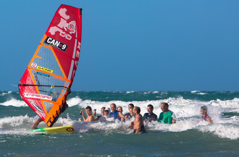 Windsurfing for Guy Cribb's clients at Guriu, Brazil