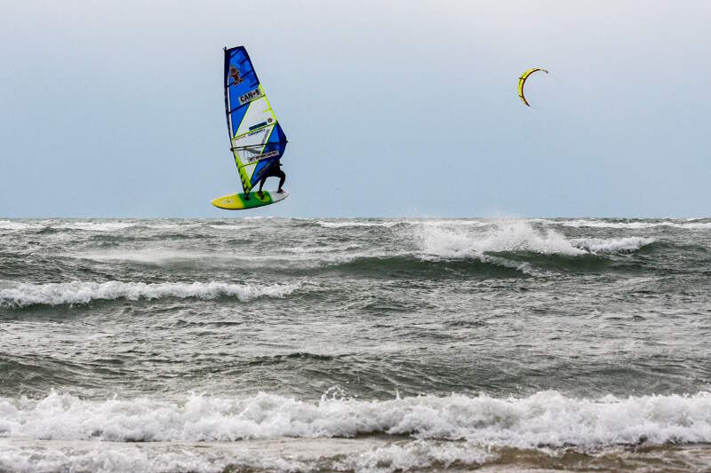Phil Soltysiak forward loop windsurfing Lake Erie - Photo by Yurii Kuzmin