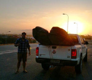 The pick-up truck transfer loaded up with my gear ready to depart Fortaleza towards Jericoacoara at sunset