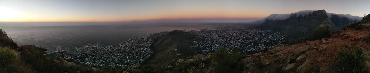 View of Cape Town from Lion's head, Table Mountain on the right,
