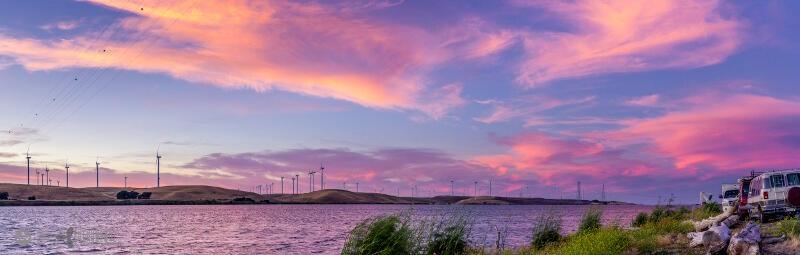 Luckybeanz captures the Rio Vista sunset over the Sacramento River.