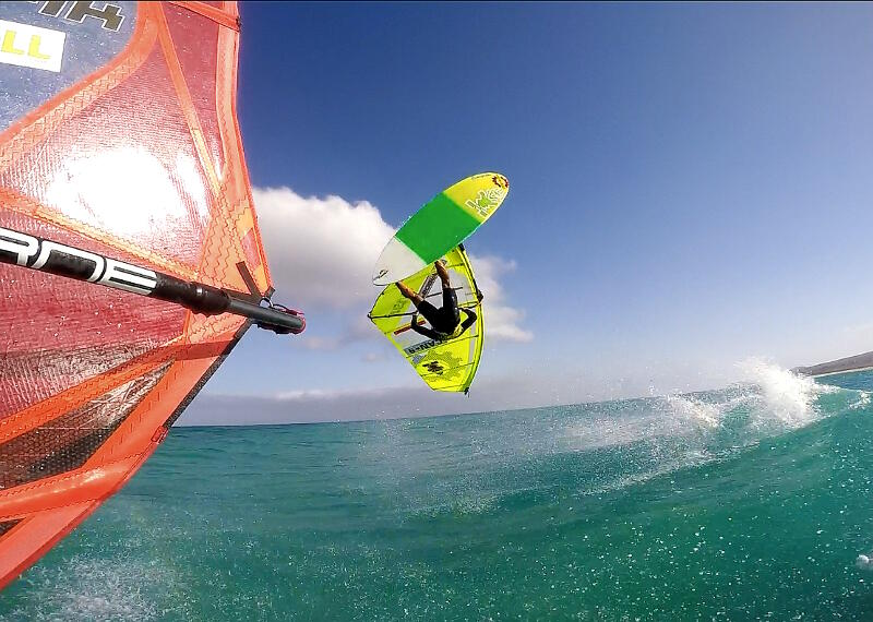 Phil Soltysiak captured by GoPro backloop off Balz's boom in Fuerteventura