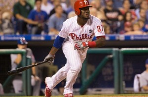 Sep 29, 2015; Philadelphia, PA, USA; Philadelphia Phillies center fielder Odubel Herrera (37) hits a single during the fifth inning against the New York Mets at Citizens Bank Park. The Phillies won 4-3. Mandatory Credit: Bill Streicher-USA TODAY Sports