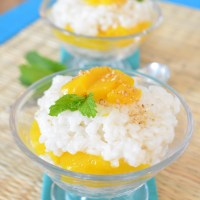 coconut mango sticky rice, vegan