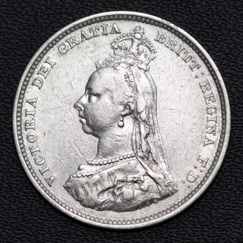 queen-Victoria--silver-shilling-coin-1887-obverse macro