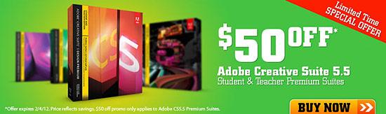 $50 off Adobe Creative Suite CS5.5 for Students + Teachers