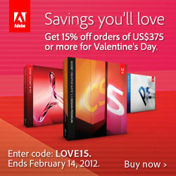 Adobe Valenytine's Day 15% off all orders of $375 or more