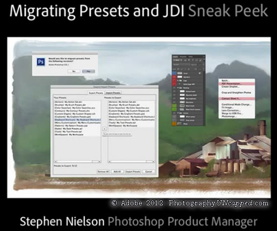 Adobe Photoshop CS6 - Sneak Peek - Migrating Presets + JDI