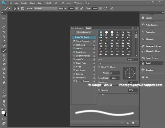 New Photoshop CS6 Brush Panel Flyout
