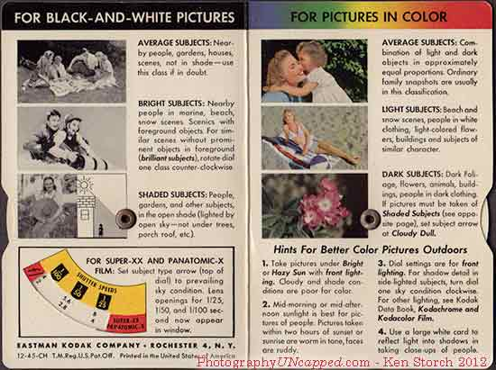 For Black and White Pictures - For Pictures in Color