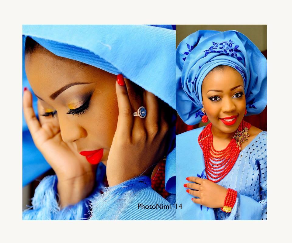 Yoruba Bride In Lovely Blue Attire