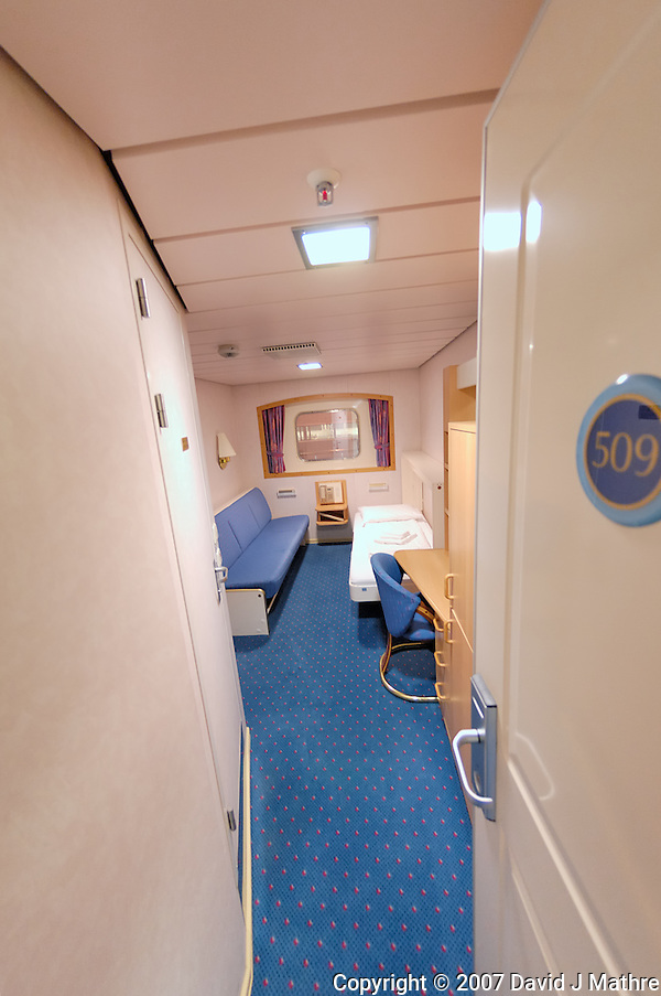 Fisheye View of My Cabin on the M/S Kong Harald. Image taken with a Nikon Dxs and 10.5 mm f/2.8 fisheye lens (ISO 400, 10.5 mm, f/2.8, 1/15 sec) (David J. Mathre)