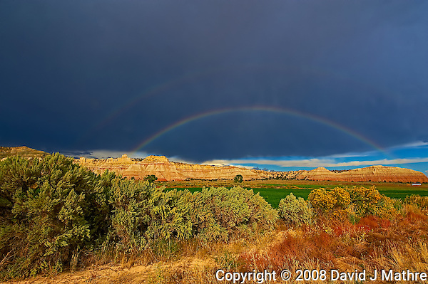 Double Rainbow in Utah. Image taken with a Nikon D3 and 14-24 mm f/2.8 lens (ISO 200, 17 mm, f/16, 1/125 sec). Raw image processed with Capture One Pro, Topaz Define (Color Jump), Topaz DeNoise, and Photoshop CS5. (David J Mathre)