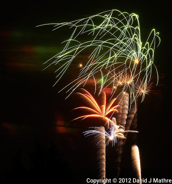 Independence Day Fireworks in Montgomery Township, New Jersey. Image taken with a Nikon D800 and 200 mm f/2G VR lens (ISO 100, 200 mm, f/11, 8 sec). (David J Mathre)