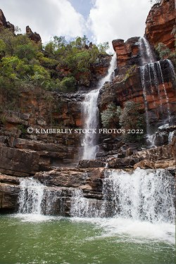 A waterfall flows into the Sale River in Doubtful Bay on the Kimberley coast of  Western Australia. (Annabelle Sandes/© Annabelle Sandes | Kimberley Media 2011)