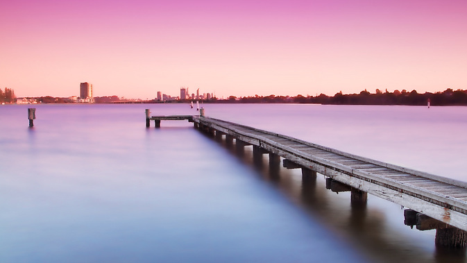 Deep Water Point Jetty looking towards Perth City at Sunrise (Tristan Jud)