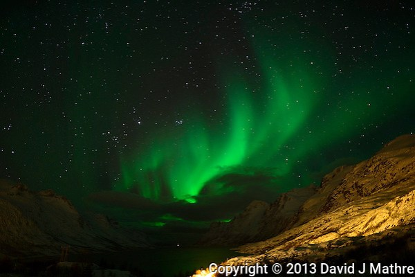 Early Morning (00:02 AM) Northern Lights on Kvaløy Island near Tromsø. Image taken with a Nikon D800 and 24 mm f/1.4 lens (ISO 800, 24 mm, f/2, 8 sec).. (David J Mathre)