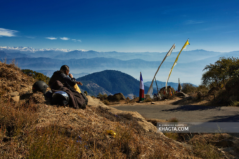 A biker from Dharamshala enjoying the serene landscape from Rewalsar. (Himanshu Khagta)