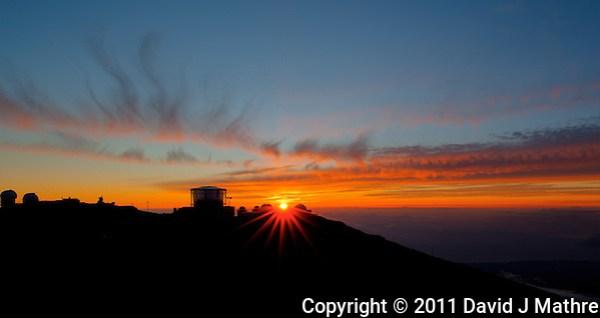 Sunset over Haleakala Satellite Tracking Station from Pu'U'Ula'Ula peak in Haleakala National Park, Maui Hawaii. Image taken with a Nikon D3x and 24 mm f/3.5 PC-E lens (ISO 100, f/16, 1/10 sec). HDR with Photomatix Pro (5 images) (David J Mathre)