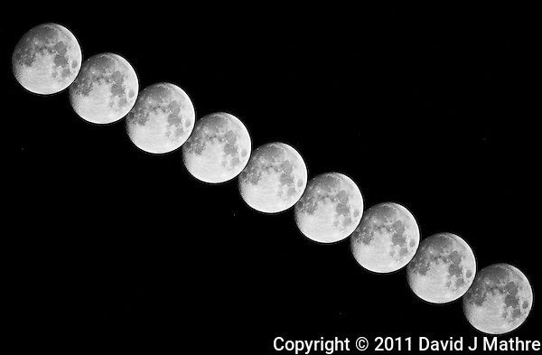 Multi-Exposure of Waxing Gibbous Moon over New Jersey. Image taken with a Nikon D3x and 500 mm f/4 VR telephoto lens (ISO 400, 500 mm, f/4 1/400 sec). Nine images taken at 2 minute intervals. Raw image processed with Capture One Pro 6, and Photoshop CS5.. (David J Mathre)