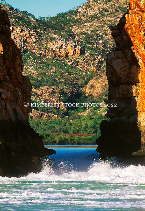 The Horizontal Waterfalls in Talbot Bay on a high spring tide. Water pours through narrow openings in the range, causing a horizontal waterfall, with a fall of up to 5m on a king tide. (Richard Costin/© Richard Costin | Kimberley Media)