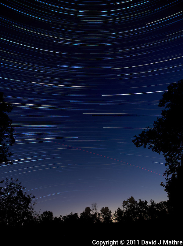 South View Star Trails. Autumn Early Morning in New Jersey. Image taken with a Nikon D3x and 14-24 mm f/2.8 mm lens (ISO 100, 14 mm, f/4, 1 min 59 sec). Composite of 60 images combined using the Startrails program. (David J Mathre)