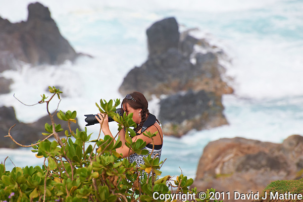 Photographer at Hookipa Beach Park overlook. On the North Shore of Maui. Image taken with a Nikon D3x and 70-300 mm VR lens (ISO 100, 300 mm, f/8, 1/250 sec) (David J Mathre)