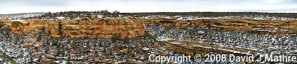 Mesa Verde National Park winter panorama. Composite of 10 images taken with a Nikon D3 camera and 80-400 mm VR lens (ISO 200, 80 mm, f/4.5, 1/200 sec). Raw images processed with Capture One Pro and the composite generated using AutoPano Giga Pro. (David J Mathre)