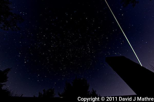 Late fall night sky over New Jersey with a Leonid Meteor. Image taken with a Nikon D3 and 16 mm f/2.8 fisheye lens (ISO 200, 16 mm, f/5.6, 60 sec). Raw image processed with DxO Pro, Nik Define, Photoshop CS5. (David J Mathre)