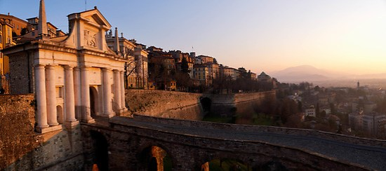 Porta San Giacomo and Bergamo's big Venetian walls at sunrise, Bergamo Città Alta, Italy (Brad Mitchell Photography)