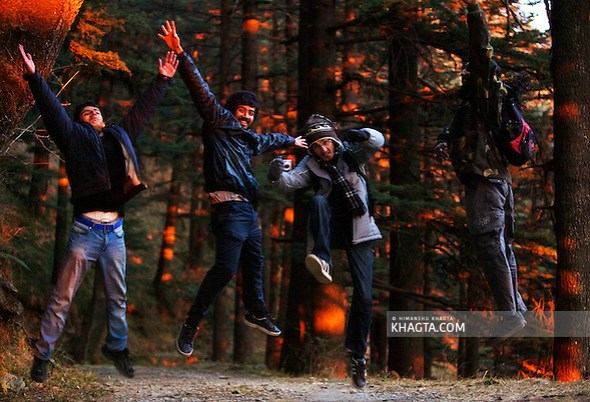 Friends posing for a shot at sunset time when the orange rays of the sun were falling on the green pine trees in a forest in Shimla (Himanshu Khagta)