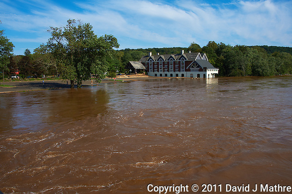 Lambertville Inn from the Lambertville New Hope Bridge. Delaware River at Near Flood Stage after Hurricane Irene. Image taken with a Nikon D700 and 28-300 mm VR lens (ISO 200, 28 mm, f/8, 1/800 sec). Raw image processed with Capture One Pro 6, Nik Define 2, and Photoshop CS5. (David J Mathre)