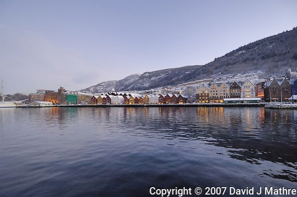 Early Morning Bergen Harbor. Image taken with a Nikon Dxs and 12-24 mm f/4 lens (ISO 800, 12 mm, f/4, 1/50 sec) (David J. Mathre)