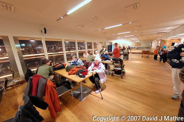Hurtigruten Waiting Area in Bergen, Norway. Image taken with a Nikon Dxs and 10.5 mm f/2.8 fisheye lens (ISO 400, 10.5 mm, f/2.8, 1/10 sec) (David J. Mathre)