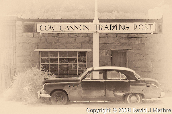 Cow Canyon Trading Post. Image taken with a Nikon D300 and 80-400 mm VR lens (ISO 200, 80 mm, f/5.6, 1/640 sec). NIK Silver Efex Pro 2. (David J Mathre)