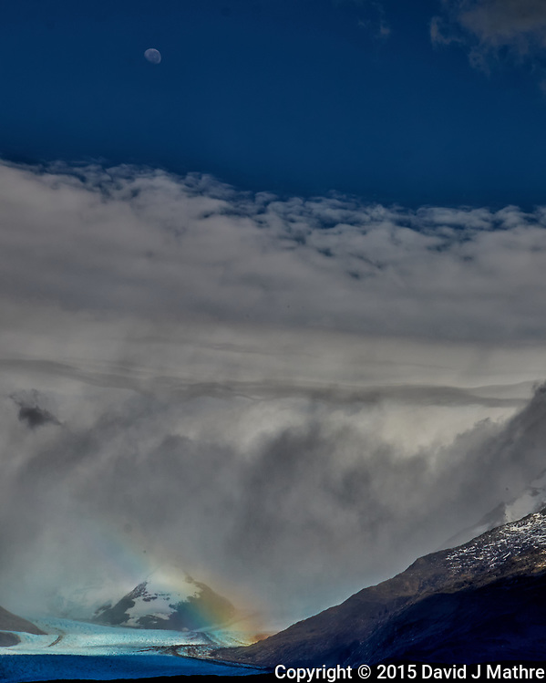Rainbow over a glacier in Patagonia. Image taken with a Fuji X-T1 camera and  55-200 mm lens (ISO 200, 55 mm, f/16, 1/500 sec). (David J Mathre)