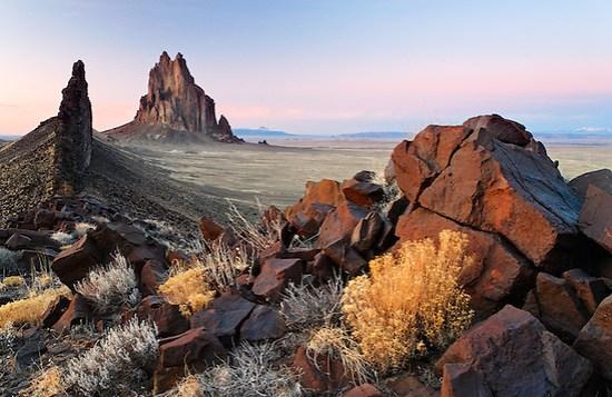 Shiprock Rock and black dike ridge, New Mexico, USA (Copyright Brad Mitchell Photography.9601 Wall St.Snohomish, WA 98296.USA.425-418-7279.brad@bradmitchellphoto.com)