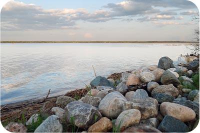lakeshore rock boulders
