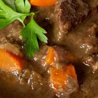 Boeuf Bourguignon (beef stew with carrots and red wine)