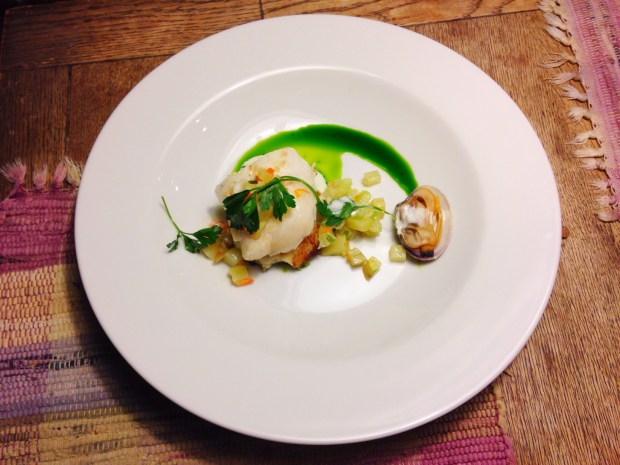 """Clam Chowder"" Sautéed Cod, Cod Cake, and Parsley Oil"