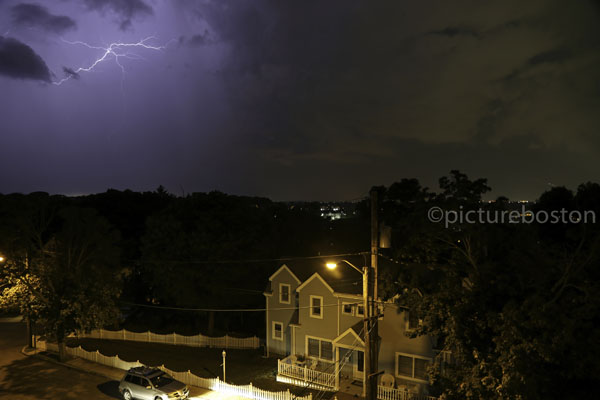 August 15, 2015. Lightning strikes over a Winthrop neighborhood.