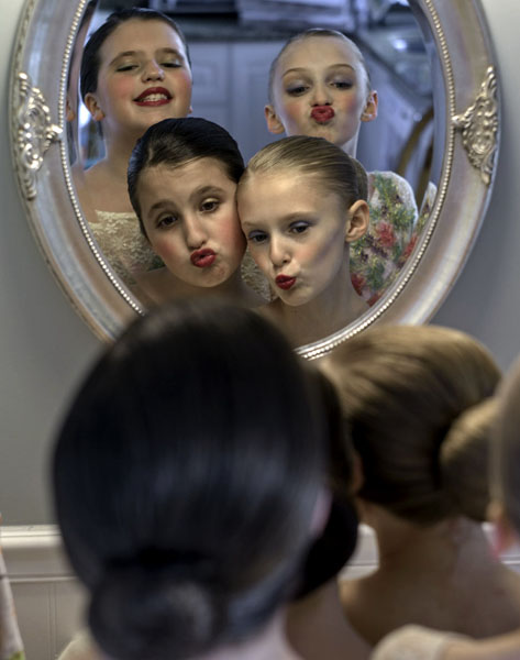 May 15, 2015-Winthrop,MA Clockwise from top left, Allison Sullivan, Sarah Delehanty, Jenny Delehanty and Kailey Sullivan get ready for their first dance recital of the year.