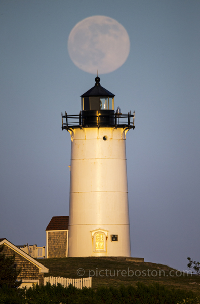 Moonrise over Falmouth's Nobska Light.