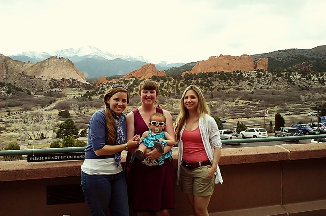 High school youth group friends (and offspring), Colorado in April.