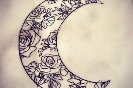 flower design moon tattoos