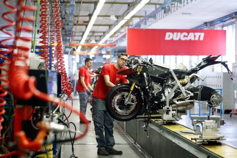 Ducati 1299 Panigale motorcycle production line, Bologna, 2015.