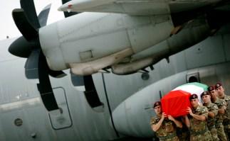 Italian troops, Ciampino airport, Rome, 2009.