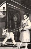 Woman Walking a Rocking Horse